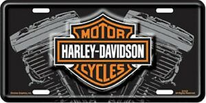 Harley Davidson V Twin Engine Embossed Metal Novelty License Plate Tag