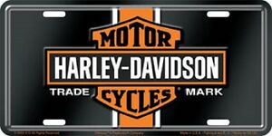 Harley Davidson Vintage Logo Embossed Metal Novelty License Plate Tag