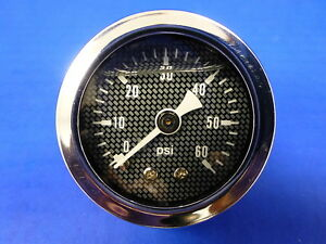 Marshall Gauge 0 60 Psi Fuel Pressure Oil Pressure 1 5 Carbon Fiber Face Liquid