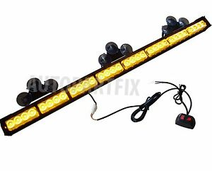 35 Inch Led Amber Yellow Light Emergency Warn Strobe Flashing Bar Hazard Traffic