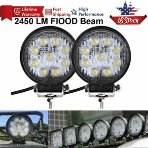 2pcs 5inch 27w Led Work Light Bar Round Spot Driving Truck Boat Suv Fog Lamp 18w