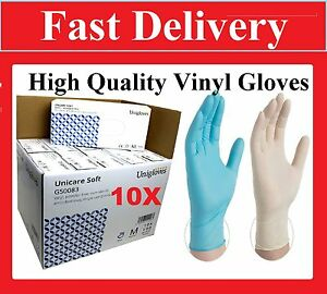 Box 1000 Disposable Vinyl Clear Blue Gloves Powder Free Medical Food Cleaning