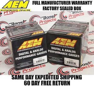 Aem 2 Gauges Combo Set Oil Pressure Uego 4 9lsu Wideband Air Fuel Ratio