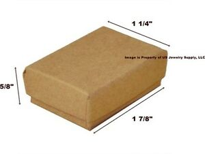 Lot Of 500 Small Kraft Brown Cotton Fill Jewelry Gift Boxes 1 7 8 X 1 1 4 X 5 8