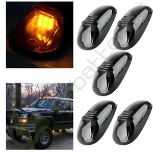 5x Amber Led Cab Roof Marker Lights Smoke Cover For 99 02 Dodge Ram 2500 3500