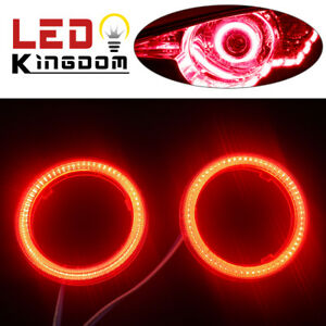 2x 12v 24v 70mm Red Cob Leds Angel Eyes Halo Ring Headlight Fog Drl Lamps Us