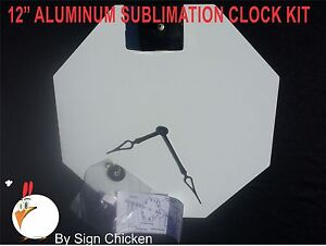 10 Pieces 12 Stop Sign Clock Kit White Aluminum Sublimation Blanks New