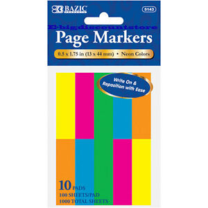 1000 Sheets Neon Color Page Markers Sticky Notes Bookmark 10 Pads 0 5 X 1 75