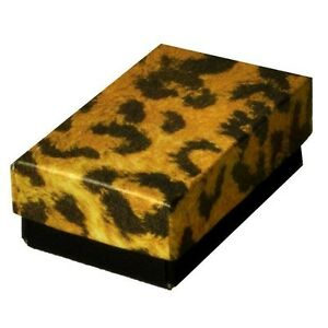 200 Leopard Cotton Filled Jewelry Packaging Gift Boxes 2 5 8 X 1 1 2 X 1