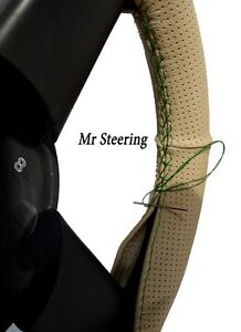 Beige Perforated Leather Steering Wheel Cover For Ford E350 Green Stitch 2001 07