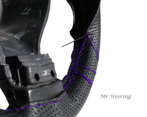 Black Perforated Leather Steering Wheel Cover For Ford E350 Purple Stitching New