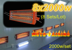 8 Sets 2kw Spray Baking Booth Infrared Paint Curing Lamps Heater Heating Lights