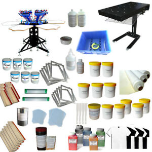6 Color 6 Station Screen Printing Press Kit Rotary Screen Printer Flash Dryer