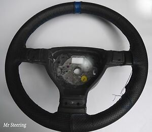 For Kia Sportage 04 10 Black Perforated Leather Steering Wheel Cover blue Strap