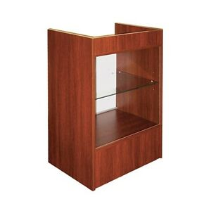 Cash Register Stand With Glass Front For Full Vision Showcase Cherry Scrgc