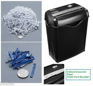 Cross Cut Paper Shredders 6 Sheet Destroys Credit Cards Chopping Junk Mail Home