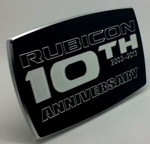 Jeep Billet Aluminum Trailer Hitch Cover Rubicon 10th Anniversary 4x6 Arched