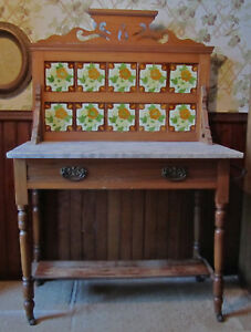 Antique 1800s Marble Top Maple Washstand W 3 D Majolica Tiled Back Must See