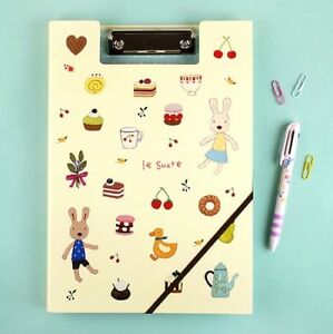 La Sucre Rabbit Document Holder Bunny A4 Paper Clip Folder W Band