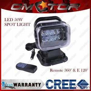 50w 360 Cree Led Spot Remote Controller Search Light Boat Camping Hid Xenon Am