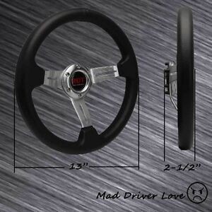 Silver Spoke 6 Hole 350mm Alloy Pvc Leather Racing Steering Wheel Universal Fit