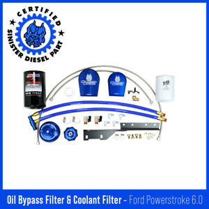 Sinister Diesel External Oil Filter System W Coolant Filter Ford Powerstoke 6 0