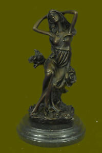 Signed J Mavchi Bronze Statue Girl W Flower Deco Dancer Sculpture Hot Cast Sale