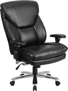 Big Tall Black Leather Executive Office Chair Lumbar Support 400 Lb Capacity