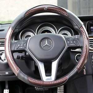 New Brown 14 5 15 Genuine Carbon Fiber Steering Wheel Cover Circle Cool 7472