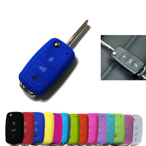 1x Silicone Protective Cover For Volkswagen Skoda Seat Remote Key Fob Case
