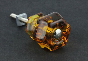 Antique Honey Amber Glass Knob Drawer Pull Handle 1 1 4 Dia By Pld