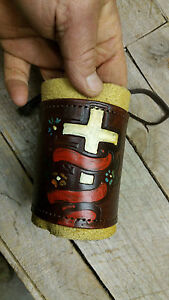 Handmade Leather Can Cooler Bottle Cover Beer Cooler water Bottle Cover Cross