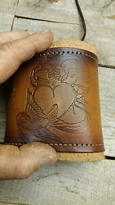 Handmade Leather Can Cooler Bottle Cover Beer Cooler water Bottle Cover Heart