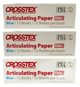 Dental Crosstex Articulating Paper Thin 12 Book Blue Tpt 3 Boxes