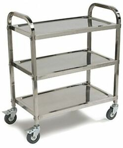 Dining Utility Service Cart 34 X 18 Stainless Steel 3 shelf Heavy Duty