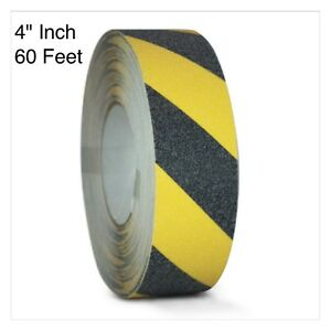 Black yellow Safety Tape 4 X 60 Roll Anti Slip Sticker Grip Grit Safe Non Skid