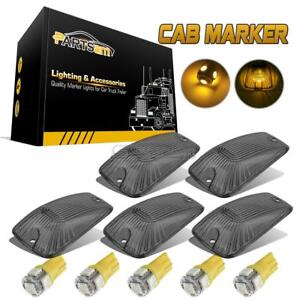5x Smoke Roof Cab Marker Light Lens W Amber Led For Chevy Gmc Trucks 1988 2000