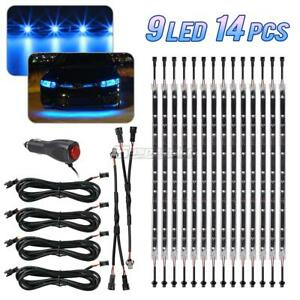 Set 14 Tubes Car Underbody Under Glow Blue Led Light Strip 9 3528 smd Lighting