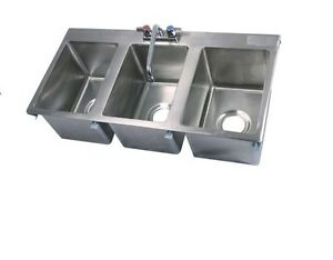 Drop In Sink Stainless Steel Three Compartment 18 X 36