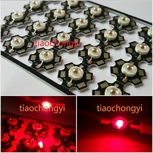 3w Red 80lm 655nm 660nm Led Plant Glow Light Emitter With 20mm Star Base 100pcs