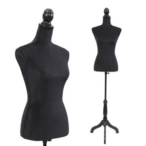 Black Female Mannequin Torso Clothing Display W Black Tripod Stand New