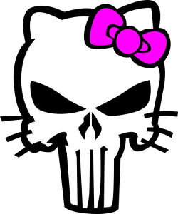 Hello Kitty Punisher Decal Multi Color Outdoor Decal Various Sizes Colors