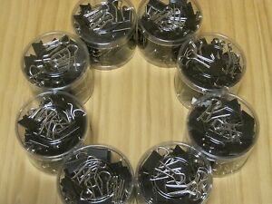 Metal Binder Clips small 19mm Wide 10mm Capacity Black 40x8sets 320 Clips Lots