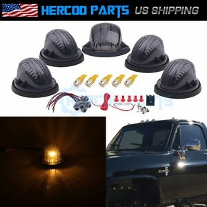 Roof Top Cab Lights Marker Smoked Amber Led Bulb Wiring For Chevy Gmc 73 74