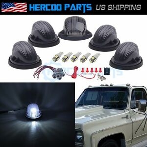 Roof Top Cab Lights Marker Smoked White Led Bulb Wiring For Chevy Gmc 73 86