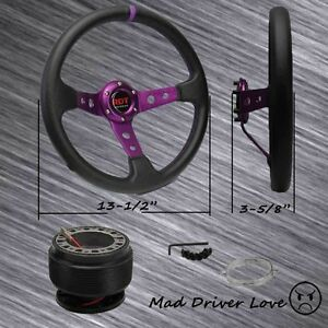For 1992 1995 Honda Civic Purple Deep Dish 13 5 Pvc Steering Wheel hub Adapter