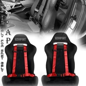 2x Red 4 point Adjustable Seat Belt Racing Harness Buckle 2 Strap Nylon Custom