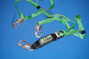 New Safety Harnesses Miller Green Two Leg Hp Lanyard W Sofstop Shock Absorber