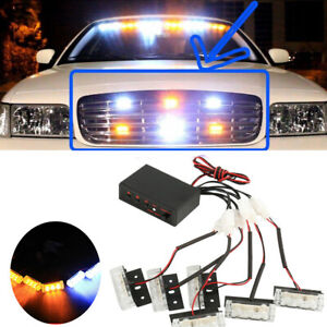 Amber And White 18 X Led Emergency Vehicle Strobe Lights For Front Grille Deck