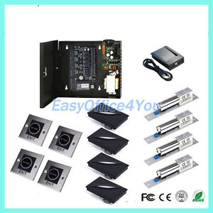 4 Door Rfid Id Card Door Access Control Controller System Kit Electric Bolt Lock